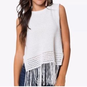BB Dakota White Tassel Sweater
